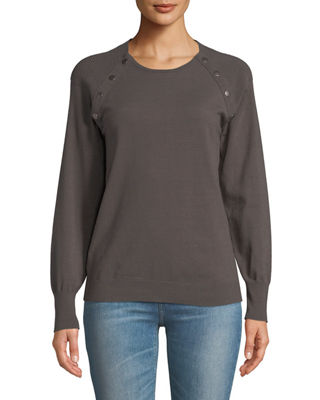 ANNA CAI Snap-Trim Long-Sleeve Sweater in Gray