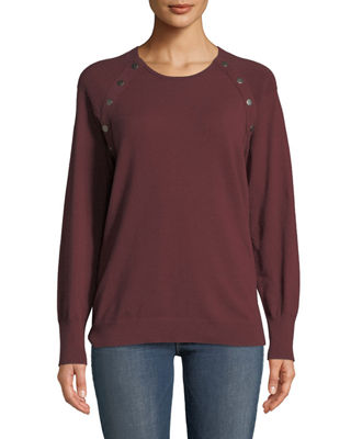 ANNA CAI Snap-Trim Long-Sleeve Sweater in Wine