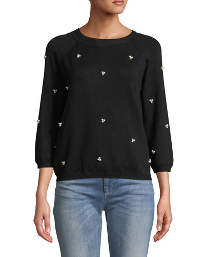 Pearly Crewneck Long-Sleeve Sweater