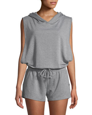 Terry Cloth Sleeveless Hooded Romper, Heather Gray