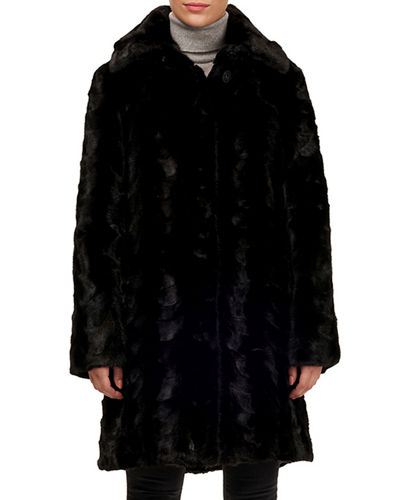 Sectioned Mink Fur Stroller Coat with Down Reverse
