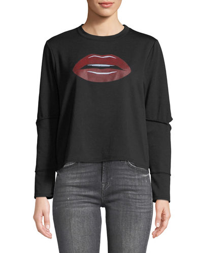 Cutout-Elbow Sweatshirt with Lip Graphic