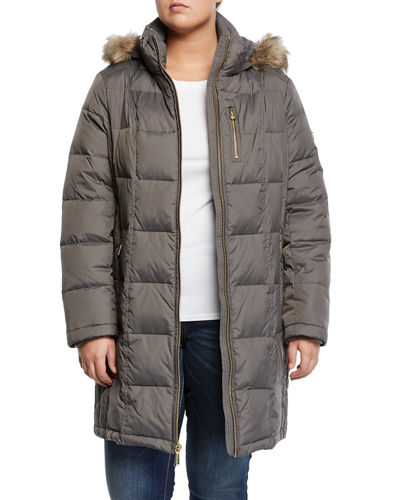 Faux-Fur Hooded Down Jacket, Plus Size