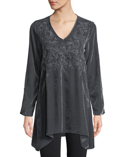 Kamala Embroidered Velvet Tunic
