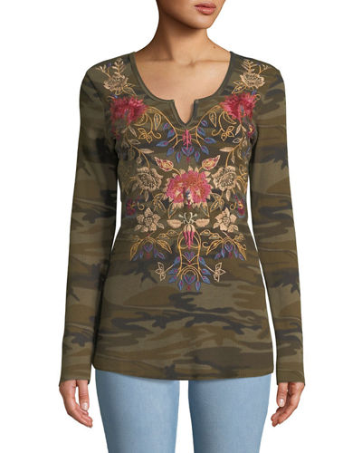 Embroidered Simona Boho Thermal Top