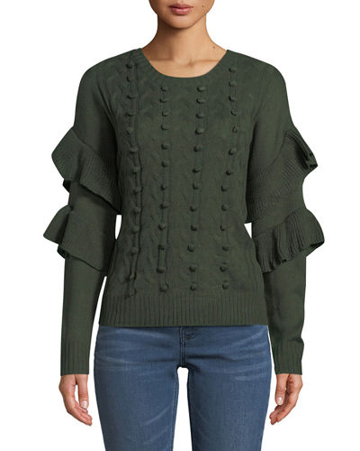 Cable-Knit Sweater with Ruffled Sleeve