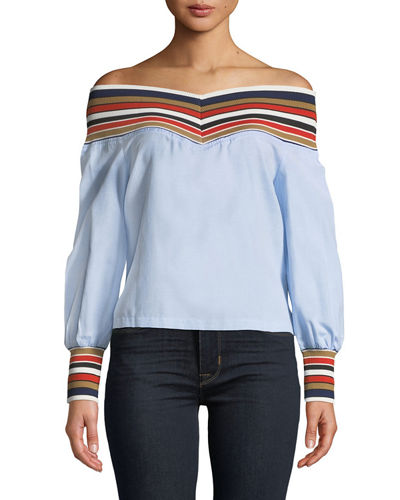 English Factory Striped Off-the-Shoulder Blouse
