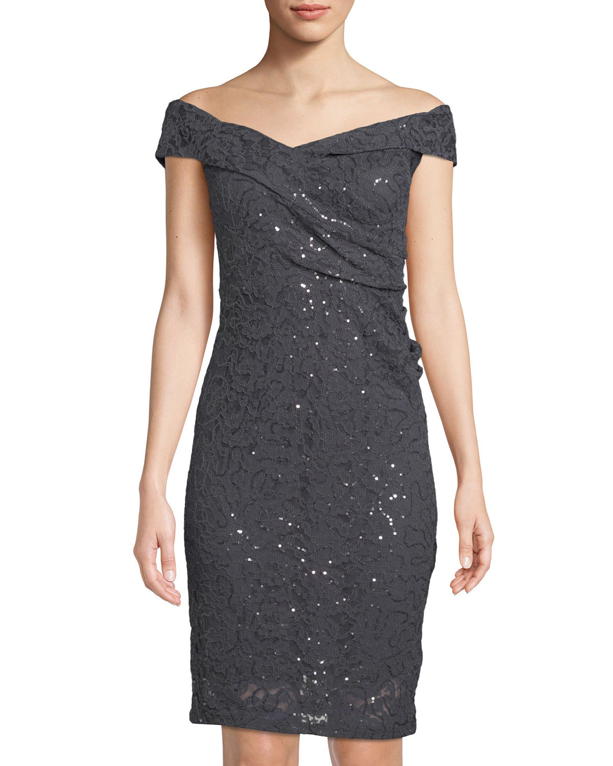 Embroidered Sequin Off-the-Shoulder Body Con Dress