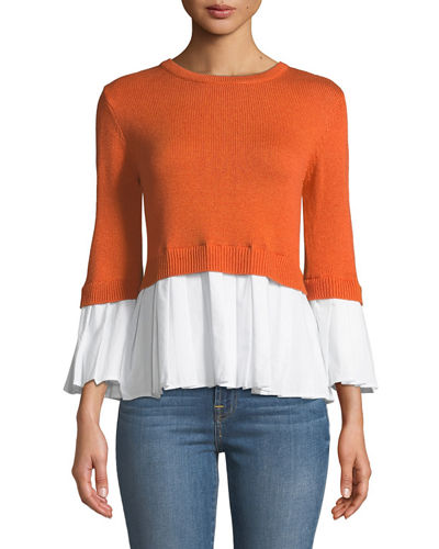 Bell-Sleeve Knit-Combo Top