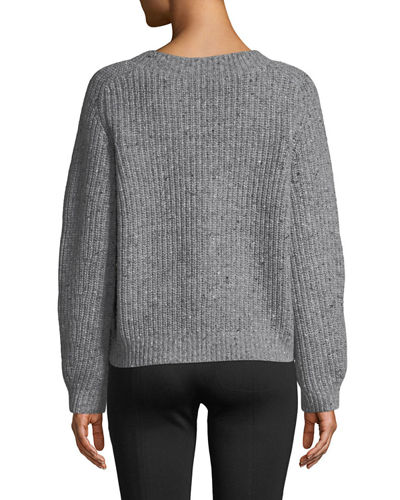 Saddle Wool-Blend Cropped Sweater