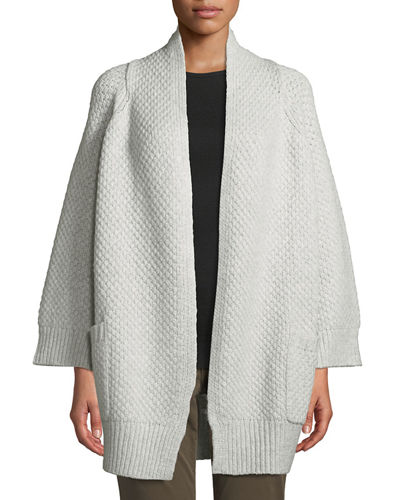 Wool-Blend Marled Car Coat