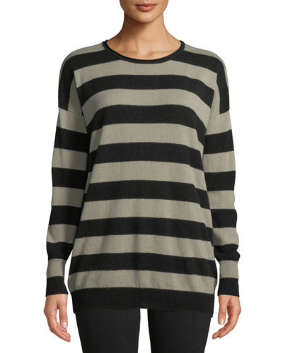 Cashmere Wide-Stripe Long Sweater