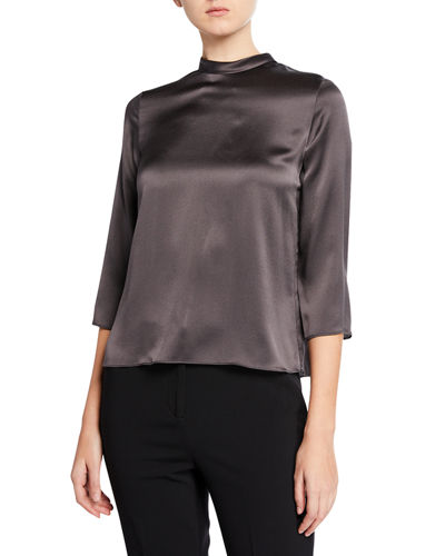 Mock-Neck Silk Satin Blouse