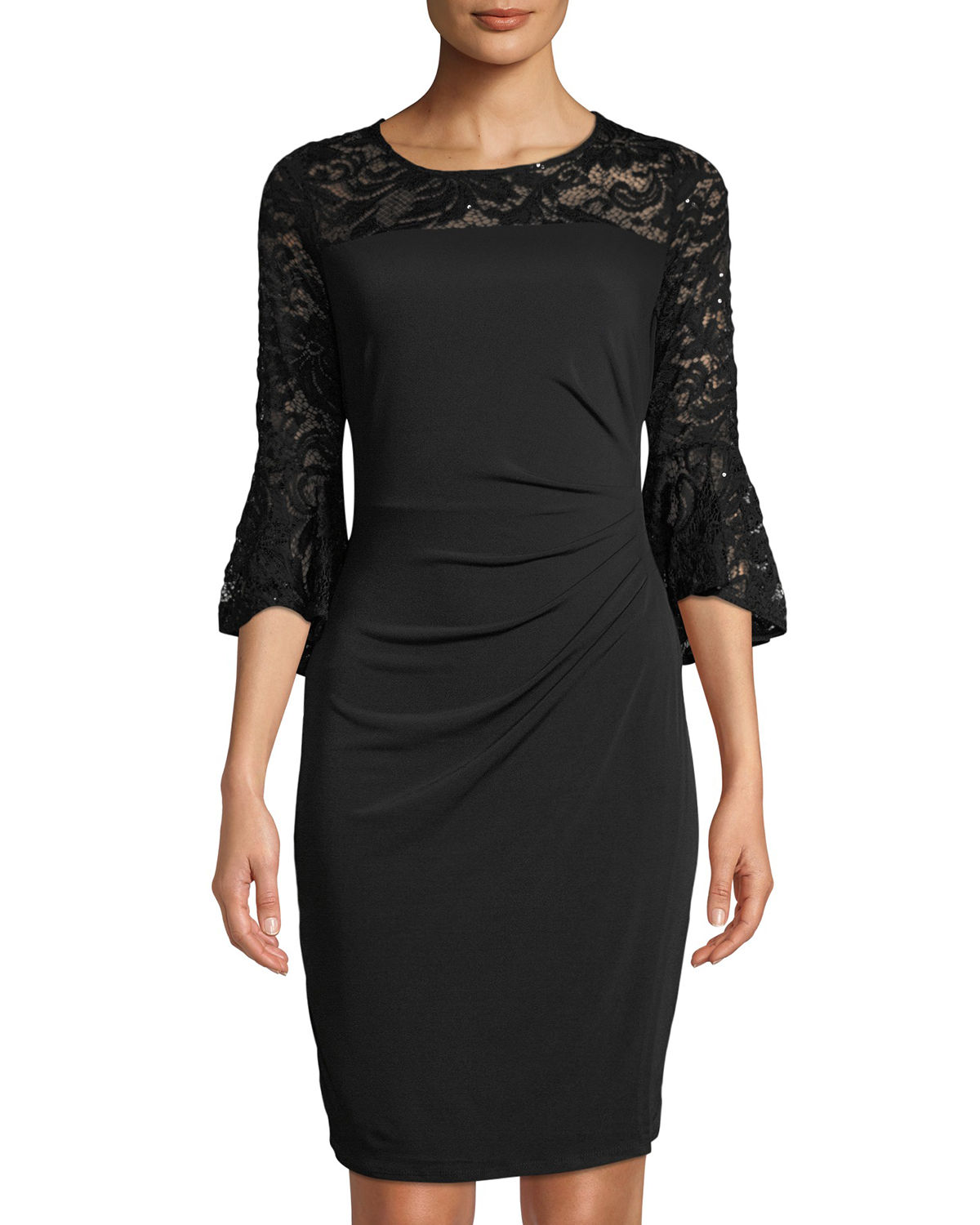 Bell-Sleeve Dress with Lace Detail