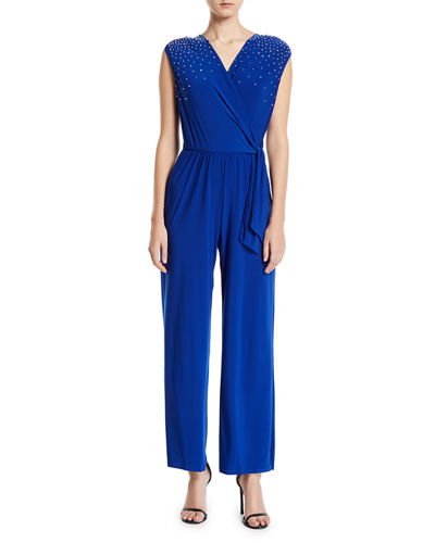Beaded-Shoulder Drape-Front Jumpsuit