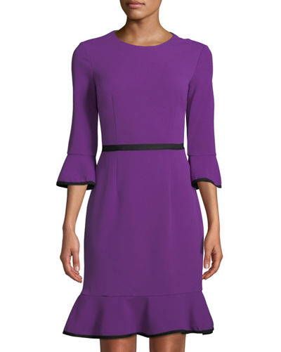 Donna Morgan Bell-Sleeve Piped Crepe Sheath Dress