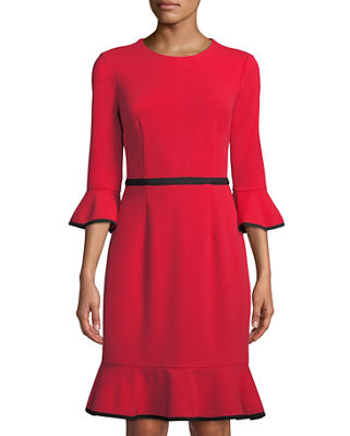 DONNA MORGAN Bell-Sleeve Piped Crepe Sheath Dress in Red/Black