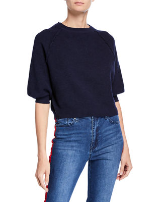 SWEET ROMEO Waffle-Knit Balloon-Sleeve Cropped Sweater in Navy