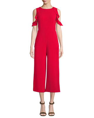 DONNA MORGAN Cold-Shoulder Ruffled Crop Jumpsuit in Red