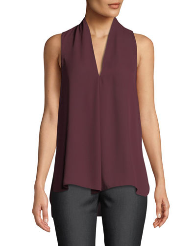 V-Neck Sleeveless Draped Blouse