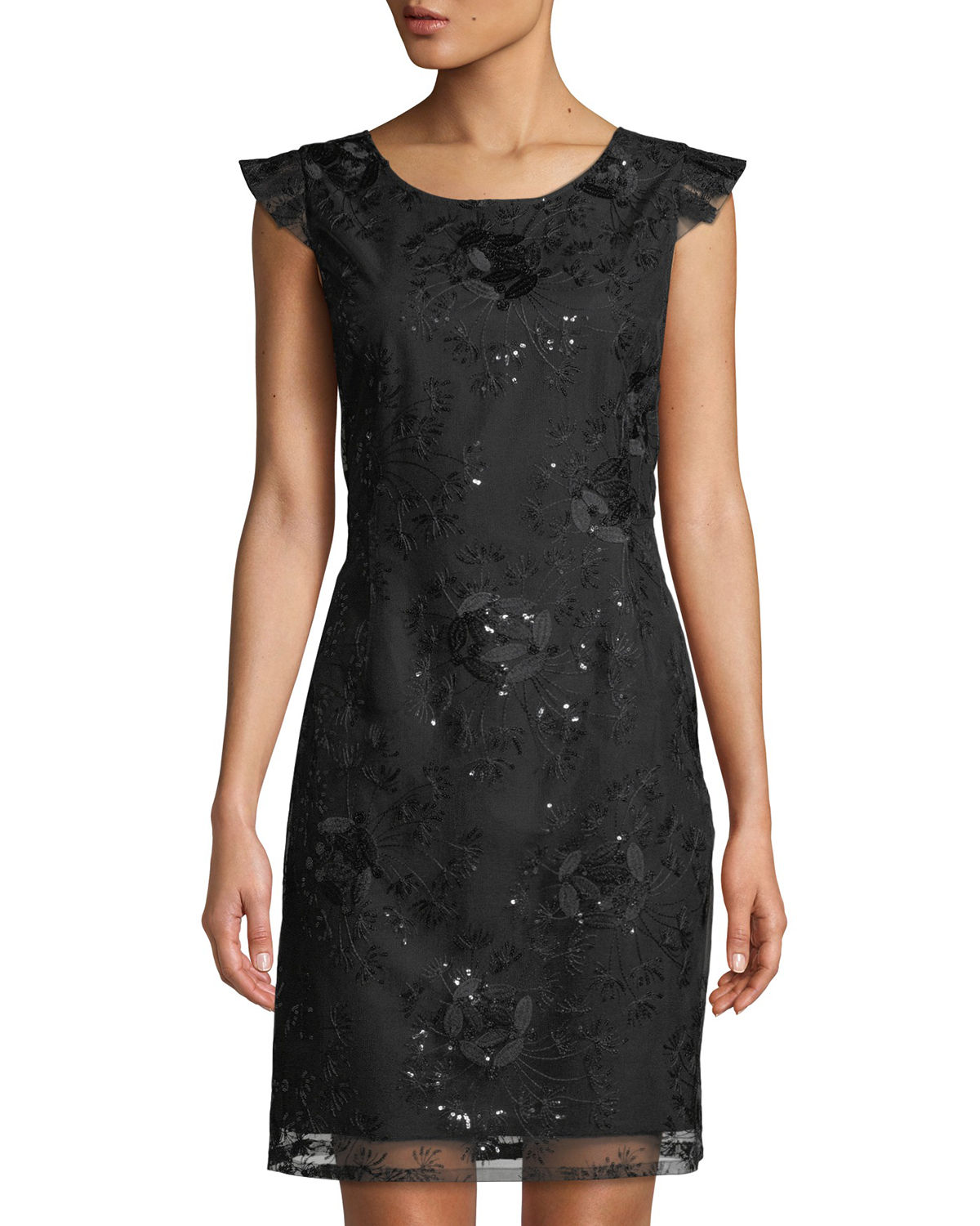 Nanette Lepore FLORAL EMBROIDERED V-BACK SHEATH DRESS