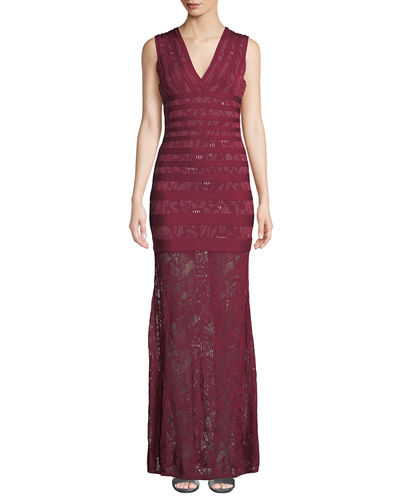 Sleeveless Jacquard Lace Gown