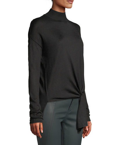 Front-Tie Knit Turtleneck