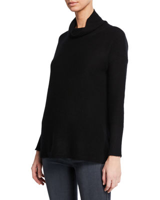 MAG BY MAGASCHONI Cashmere Reverse Jersey Turtleneck Sweater in Black