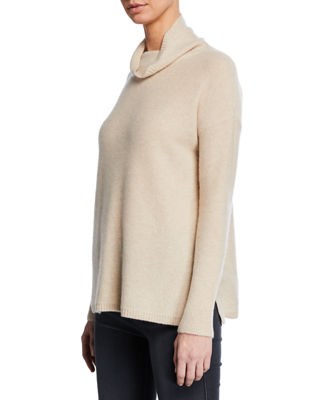 MAG BY MAGASCHONI Cashmere Reverse Jersey Turtleneck Sweater in Beige
