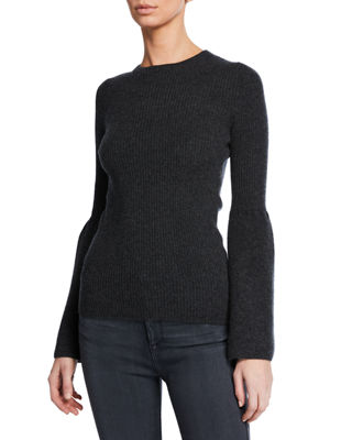 MAG BY MAGASCHONI Cashmere Lampshade-Sleeve Ribbed Sweater in Black