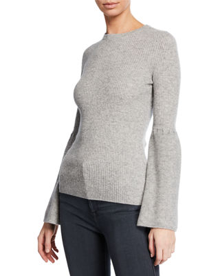 MAG BY MAGASCHONI Cashmere Lampshade-Sleeve Ribbed Sweater in Gray