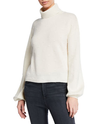 MAG BY MAGASCHONI Swiss Dot Turtleneck Cashmere Sweater in White