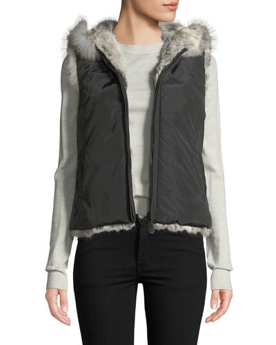 Reversible Rabbit Fur Hooded Vest