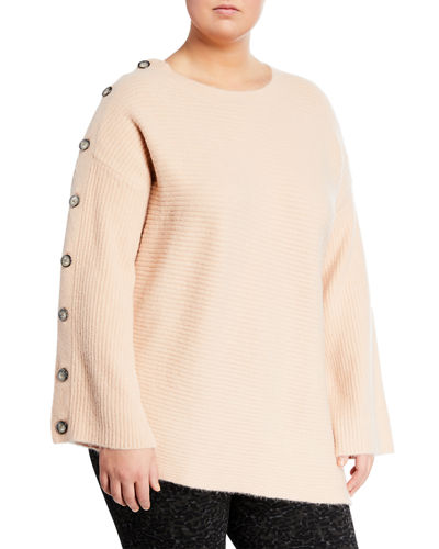 Adley Button-Sleeve Ribbed Sweater  Plus Size