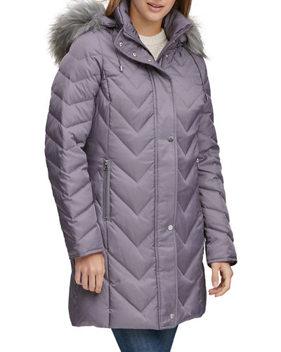 Chevron Down-Fill Faux-Fur Hooded Coat