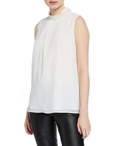 Pearly Mock-Neck Sleeveless Blouse