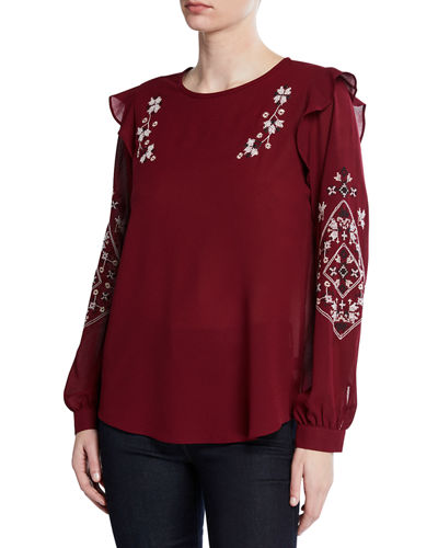 Embroidered Ruffle Chiffon Blouse