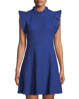 ALEXIA ADMOR Ruffle-Sleeve Lace Fit-&-Flare Dress in Blue