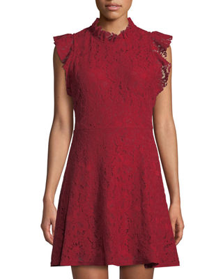 ALEXIA ADMOR Ruffle-Sleeve Lace Fit-&-Flare Dress in Red