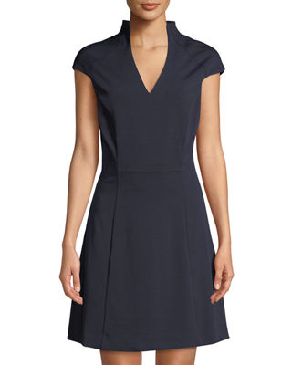 Military-Neck Short-Sleeve Fit & Flare Dress in Navy