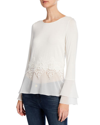 Lace & Chiffon Bell-Sleeve Twofer Top