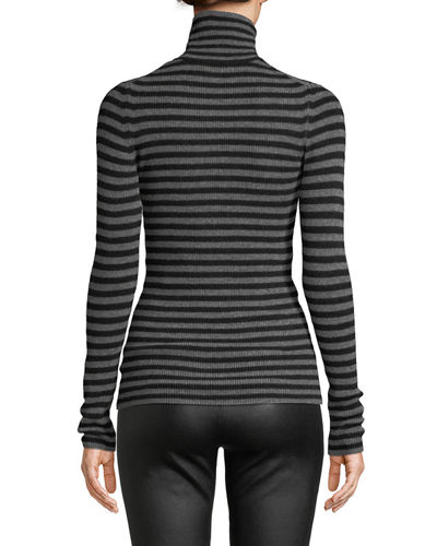 Striped Cashmere Ribbed Turtleneck Top