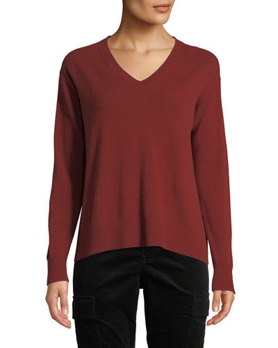 Boxy V-Neck Wool-Blend Top