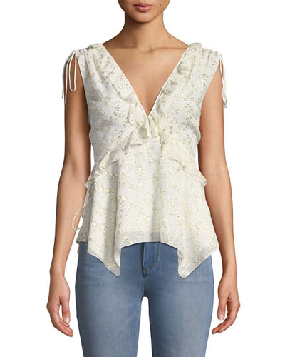 Metallic Sleeveless Ruffle Silk Top