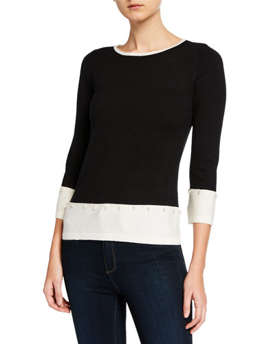 Boxy-Fit Contrast Sweater