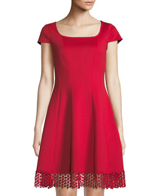 DONNA RICCO Lace-Hem Square-Neck Dress in Red