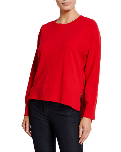 525 America Side-Zip Bateau-Neck Sweater