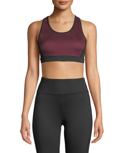 Suede-Front Racerback Sports Bra