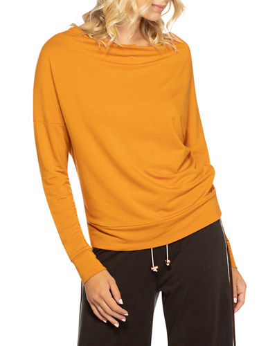 Open-Back Cutout Cowl Neck Top