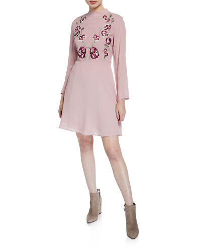 Mock-Neck Long-Sleeve Embroidered-Bodice Dress